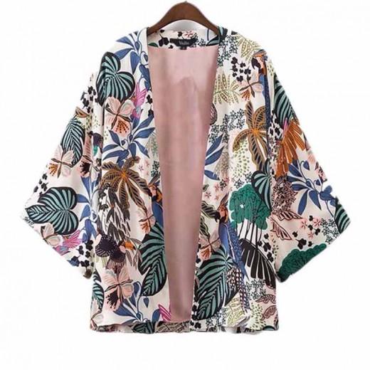 Leaves & Parrots Print Retro Kimono