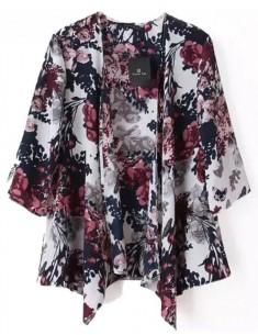 Branches & Flowers Print Kimono
