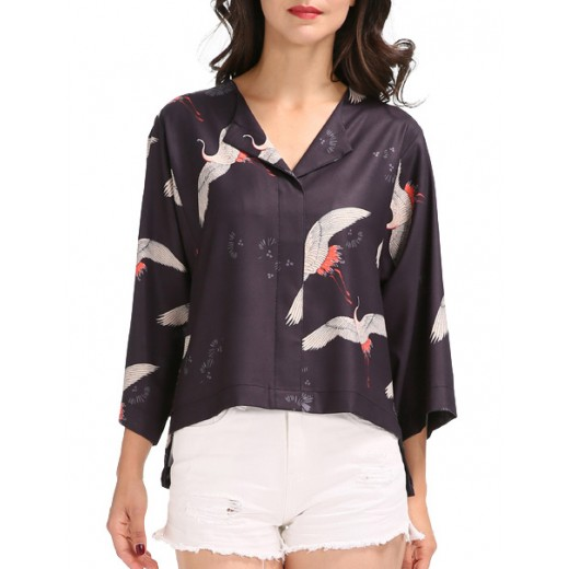 Birds Print Short Kimono Top