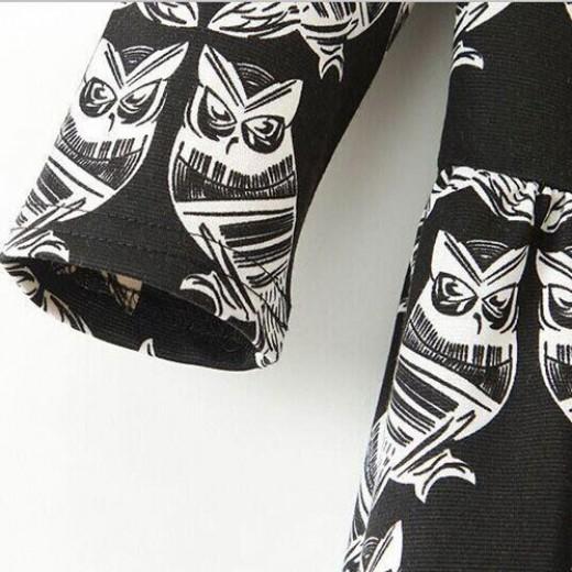 Owl Print Pleated Dress