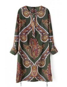 Totem Print Green Dress