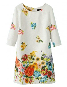 Colored Floral Print Dress