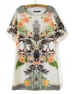 Tropical Print Boho Tunic Dress
