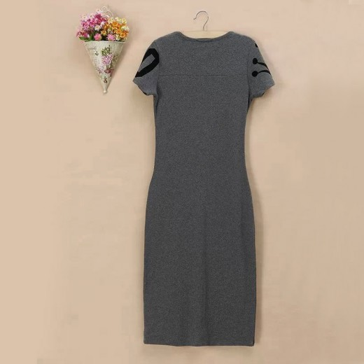 Letters Print Long Grey Dress