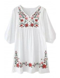 Flowers Embroidered Bohemian Dress