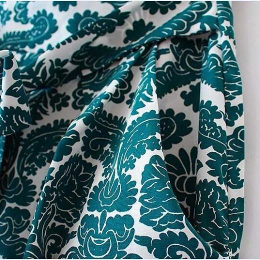 Paisley Pattern Self-Tie Back Dress