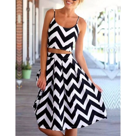 Sawtooth Pattern Two Piece Dress