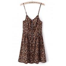 Leopard Print Zip Dress