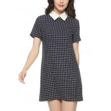 White Collar Plaid Print Dress