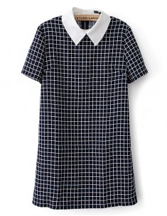 White Collar Plaid Print Dress