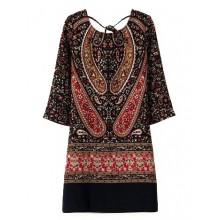 Totem Print Black Tunic Dress