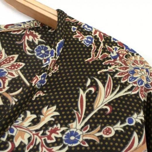 Drawstring Neck Floral Shirt