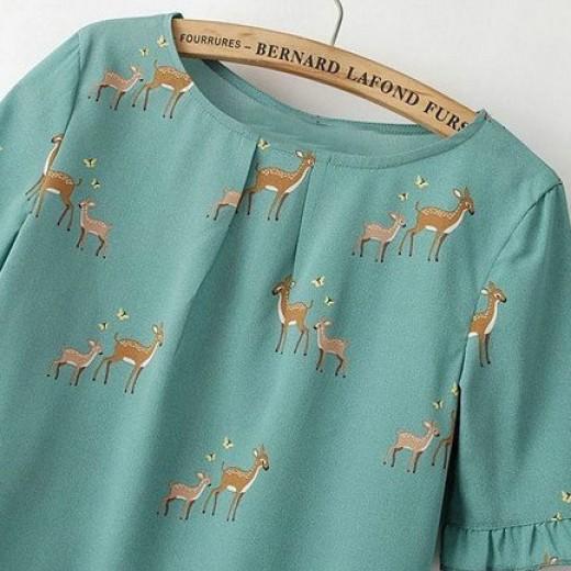 Deer Print Blouse