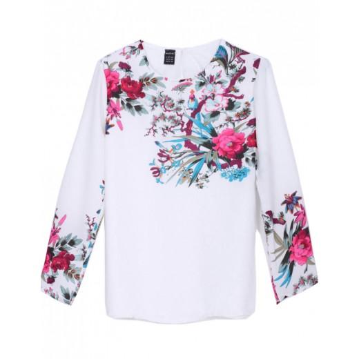 White Floral Chiffon Blouse