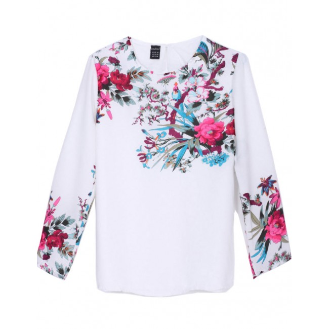 92d3def875b731 White Floral Chiffon Blouse