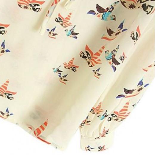 Bohemian Birds Print Blouse