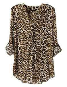 Rolled Up Sleeve Leopard Blouse