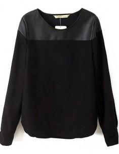 Contrast PU Leather Black Shirt