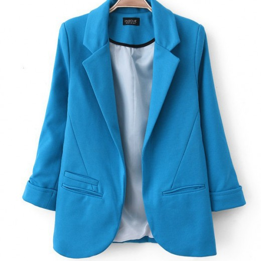 Stylish Solid Color Lapel Blazer