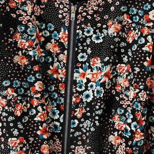 Black Floral Short Jacket
