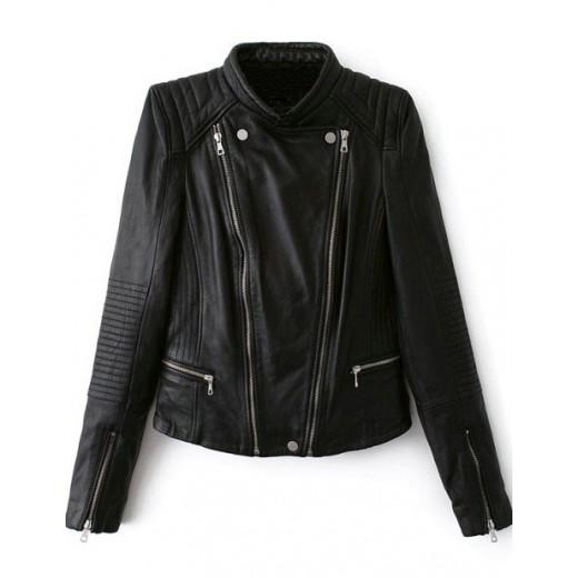 Black PU Zippers Jacket