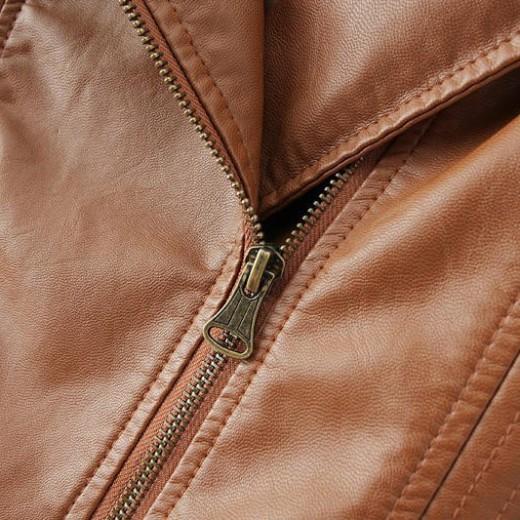 Brown PU Zippers Jacket