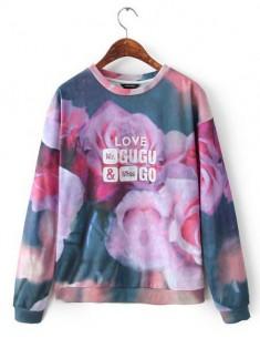 Roses Print Purple Sweatshirt