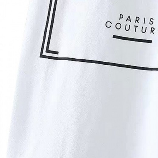 Cool Letters Print Paris T-shirt