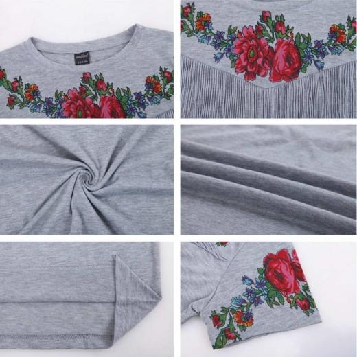 Floral Decorated Boho Fringed T-shirt