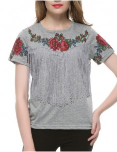 Floral Decorated Boho Fringed T-shirt