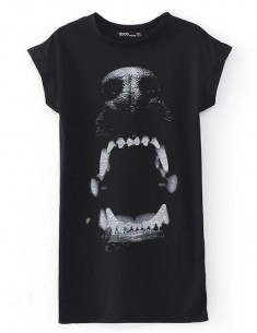 Dogs Mouth Print Long T-shirt