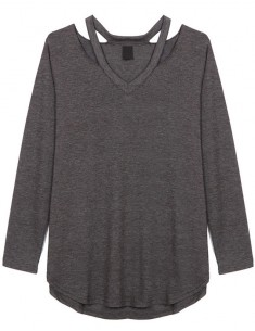 Long Sleeve Cut Out Neck Tee