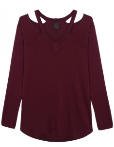 Long Sleeve Cut Out Burgundy Tee