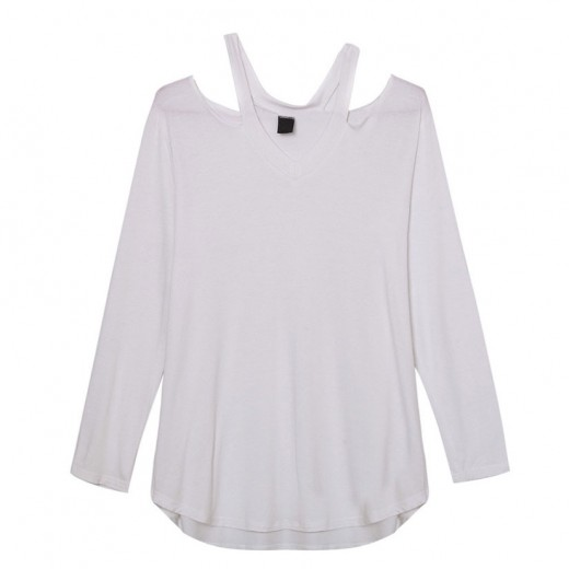 Long Sleeve Cut Out V-Neck Tee