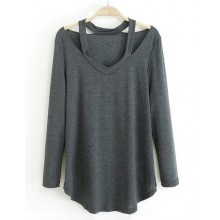 Long Sleeve Cut Out Grey Tee