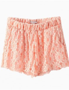 Elastic Waist Peach Lace Shorts