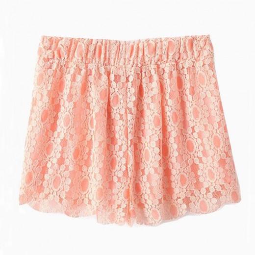 Elastic Waist Peach Lace Shorts