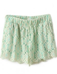 Elastic Waist Mint Lace Shorts