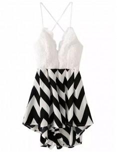 Sawtooth Stripes Print Crochet Romper