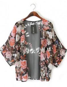 Blossom Print Sheer Kimono